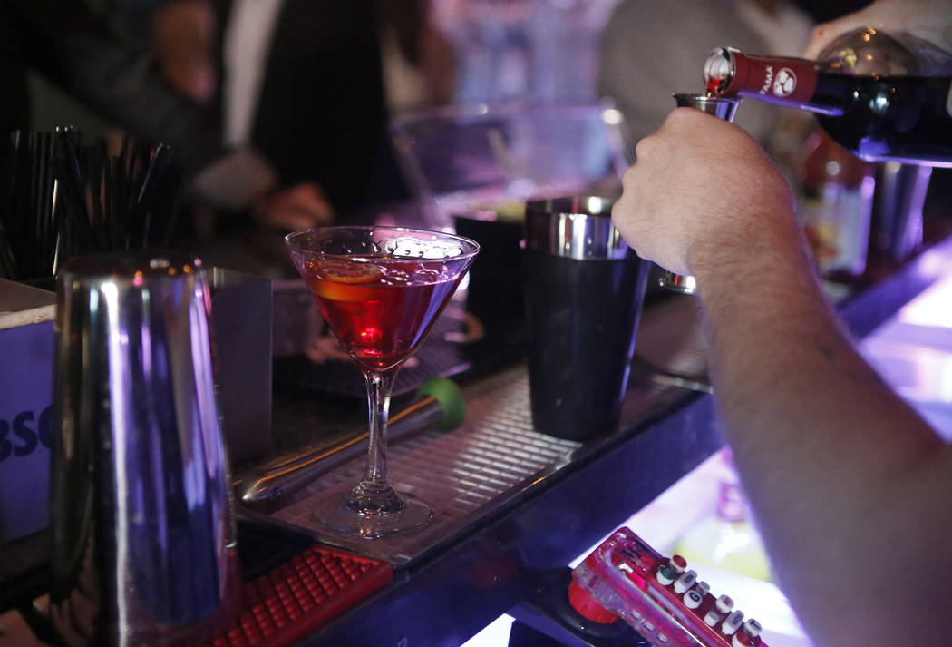 A bartender makes a drink inside a new nightclub called The Nerd at Neonopolis on Thursday, March 30, 2017, in Las Vegas. (Christian K. Lee/Las Vegas Review-Journal) @chrisklee_jpeg