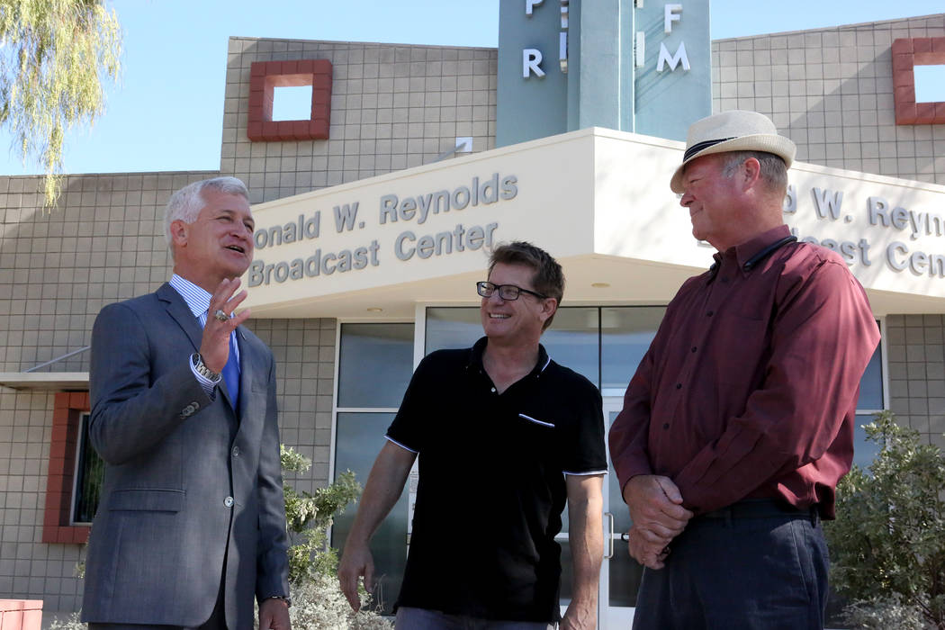 Col. Steve Seroka, left, meets with KNPR senior producer Joe Schoenmann and Councilman Bob Beers, right, in front of the KNPR studios before a debate in the Las Vegas Ward 2 City Council race on T ...