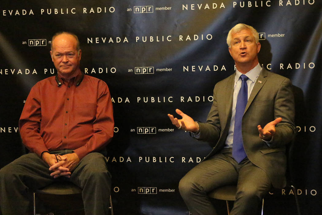Councilman Bob Beers, left, and challenger Col. Steve Seroka take questions after debate for the Las Vegas Ward 2 City Council at the studios of KNPR on Thursday, May 25, 2017. (Michael Quine/Las  ...