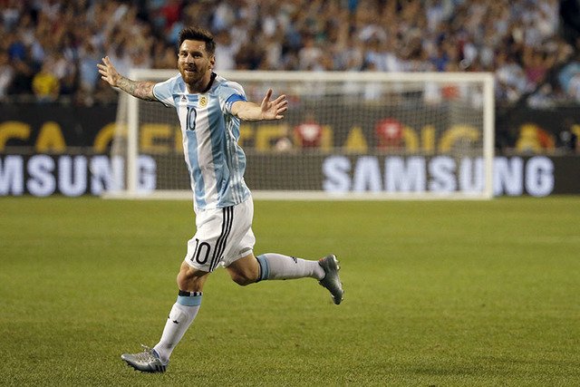 Argentina's Lionel Messi celebrates after scoring a goal during a Copa America Centenario group D soccer match against Panama on Friday, June 10, 2016, in Chicago. (AP Photo/Charles Rex Arbogast)