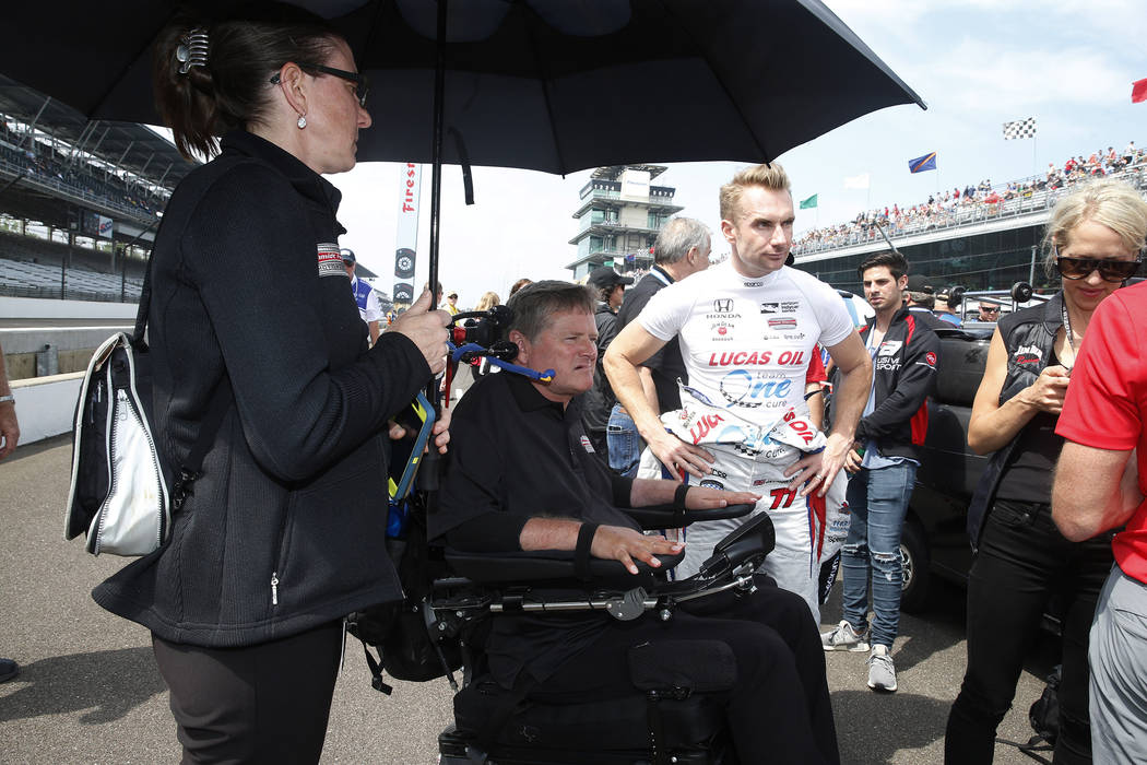 May 20, 2017; Indianapolis, IN, USA; Verizon IndyCar Series driver Jay Howard with his car owner Sam Schmidt wait in line to qualify during qualifications for the 101st Running of the Indianapolis ...