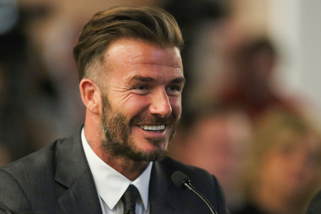 David Beckham talks with the Southern Nevada Tourism Infrastructure Committee about the possibility of bringing an MLS team to Las Vegas during a meeting at UNLV in Las Vegas on Thursday, April 28 ...
