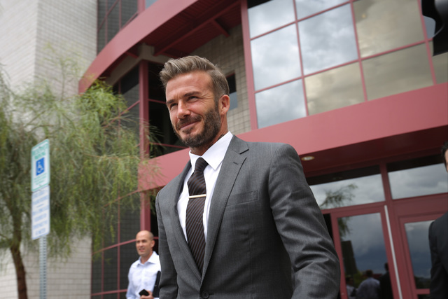 David Beckham leaves a Southern Nevada Tourism Infrastructure Committee meeting about building a multi-use stadium in Las Vegas at UNLV in Las Vegas on Thursday, April 28, 2016. (Brett Le Blanc/La ...