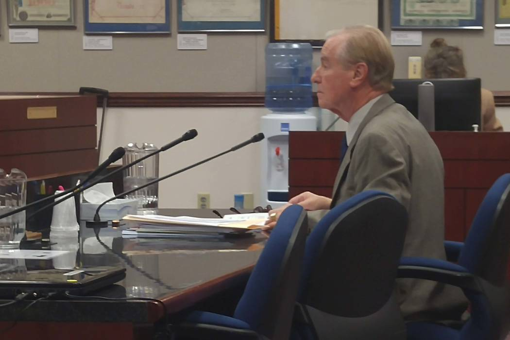 Sen. David Parks, D-Las Vegas, talks on Thursday, March 2, 2017, to the Senate Judiciary Committee. The committee passed his proposal to amend the state's constitution and replace the state's pard ...