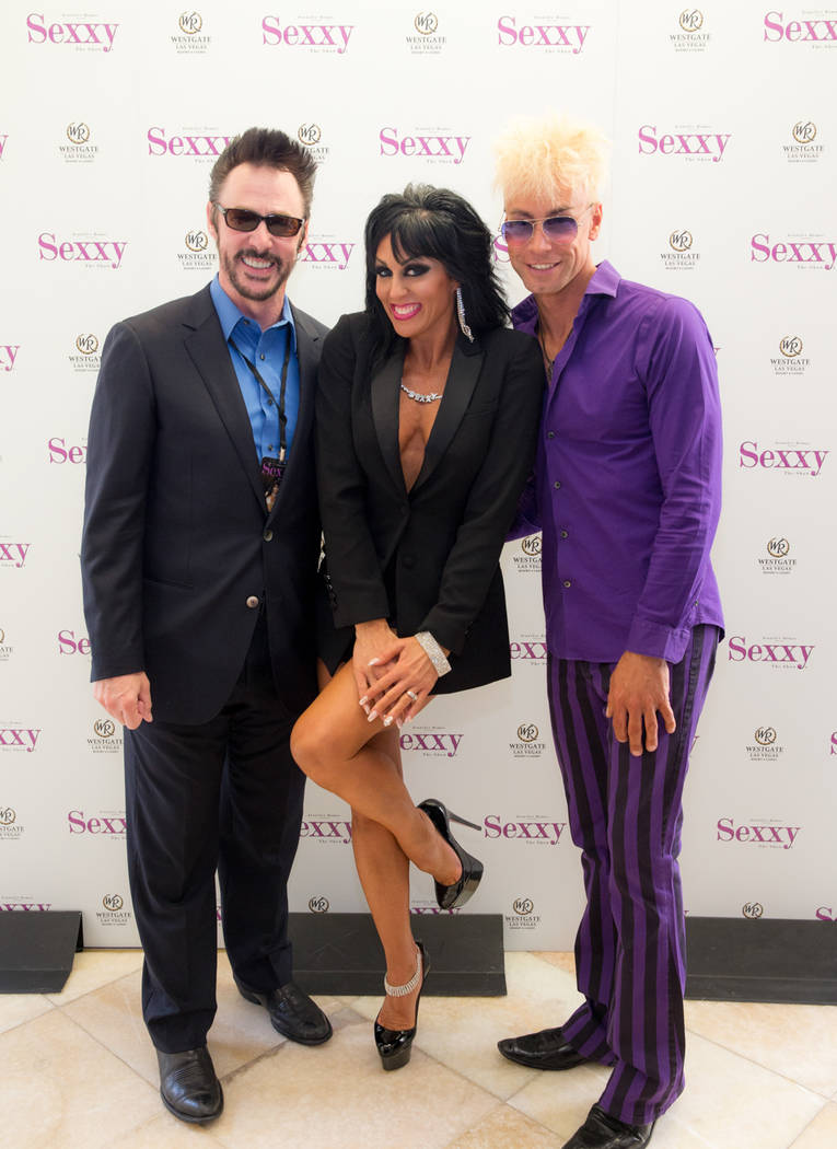 "Lance Burton, Jennifer Romas and Murray Sawchuck attend the celebration of the 500th performance and second year of ""Sexxy"" at Westgate on Monday, May 8, 2017, in Las Vegas. (Erik Kabik)"
