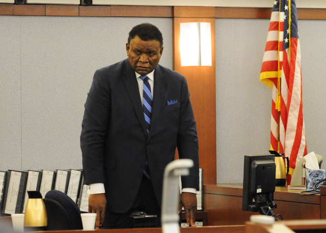 Comedian George Wallace takes the stand during his court hearing at courtroom 15C in the Clark County Regional Justice Center in Las Vegas Thursday, March 27, 2014. Wallace is suing the Bellagio c ...