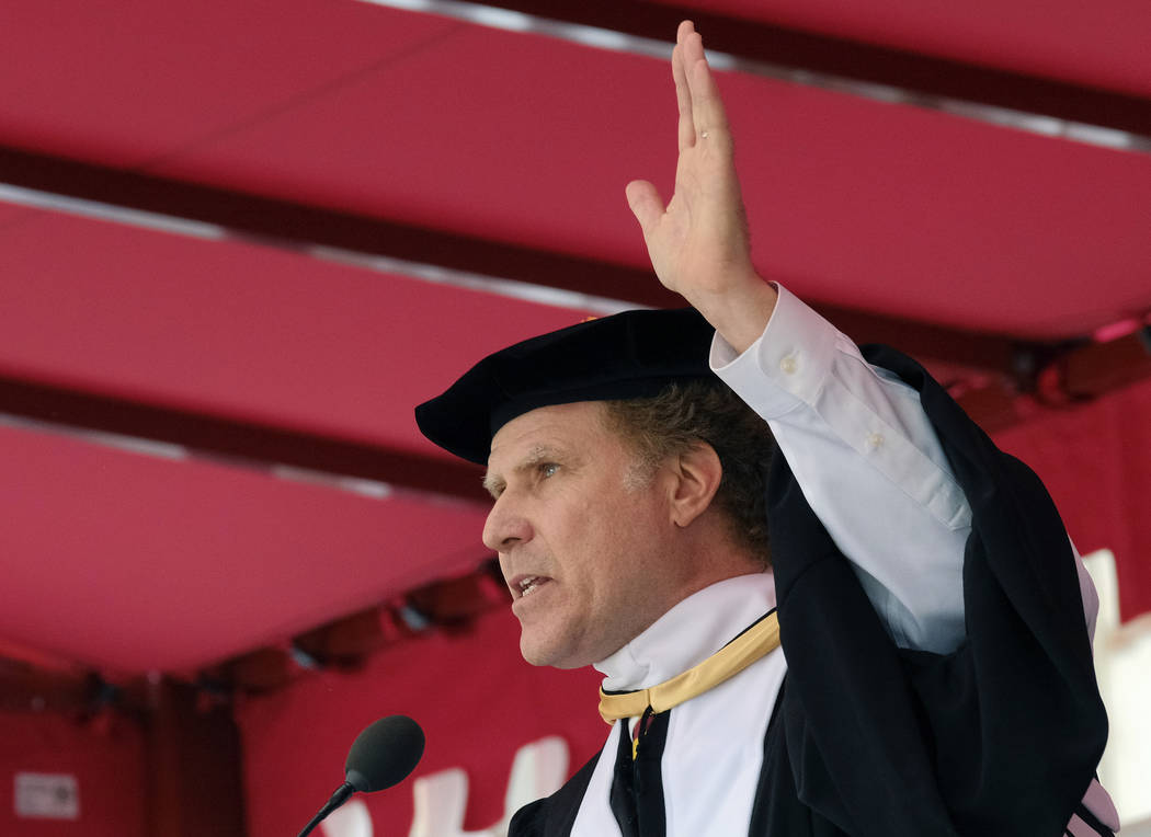 Actor Will Ferrell gestures as he speaks at the University of Southern California's Class of 2017 commencement ceremony earlier this month in May in Los Angeles.  (Richard Vogel/AP)