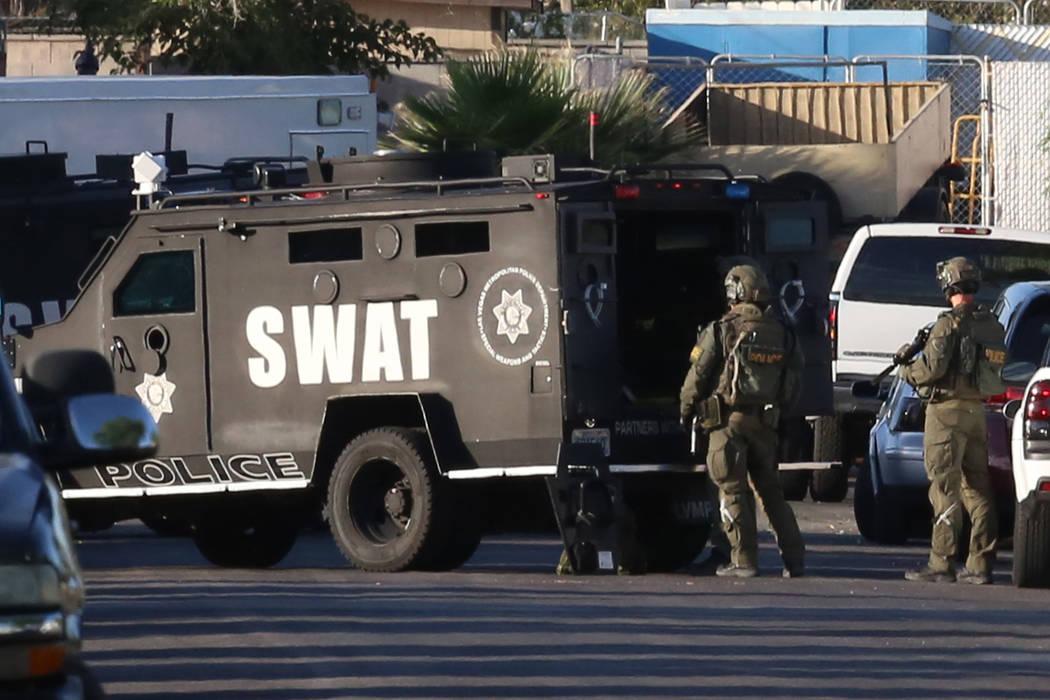 SWAT team at barricade situation at 1890 Ardmore St., on Thursday, May 25, 2017, in Las Vegas. (Bizuayehu Tesfaye/Las Vegas Review-Journal) @bizutesfaye