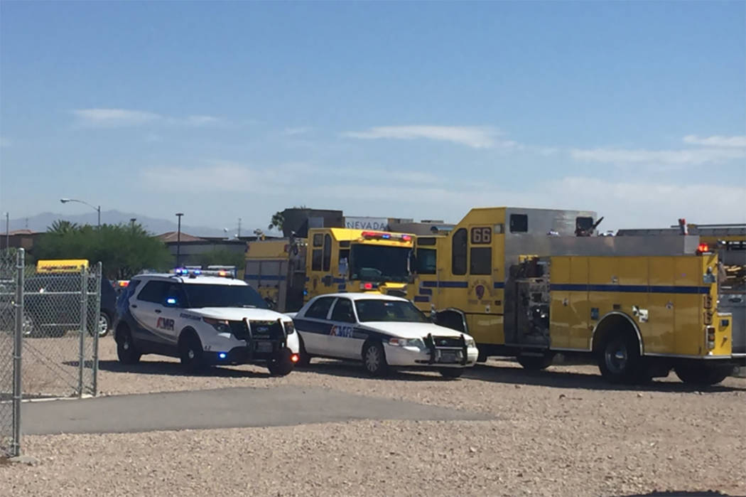 One woman, an infant and three students were hospitalized after a bus crash in the southwest Las Vegas Valley on Thursday, May 25, 2017. (@WesJuhl/Twitter)