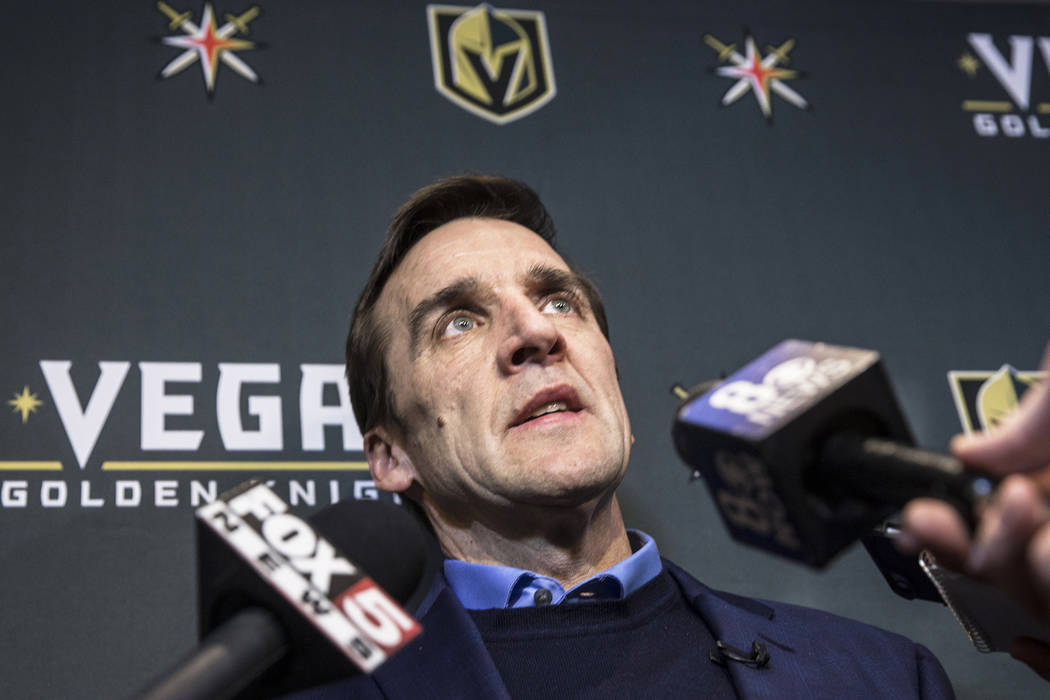 Vegas Golden Knights General Manager George McPhee address the media during a press conference on Wednesday, March, 1, 2017, at the team office, in Las Vegas. (Benjamin Hager/Review-Journal) @benj ...