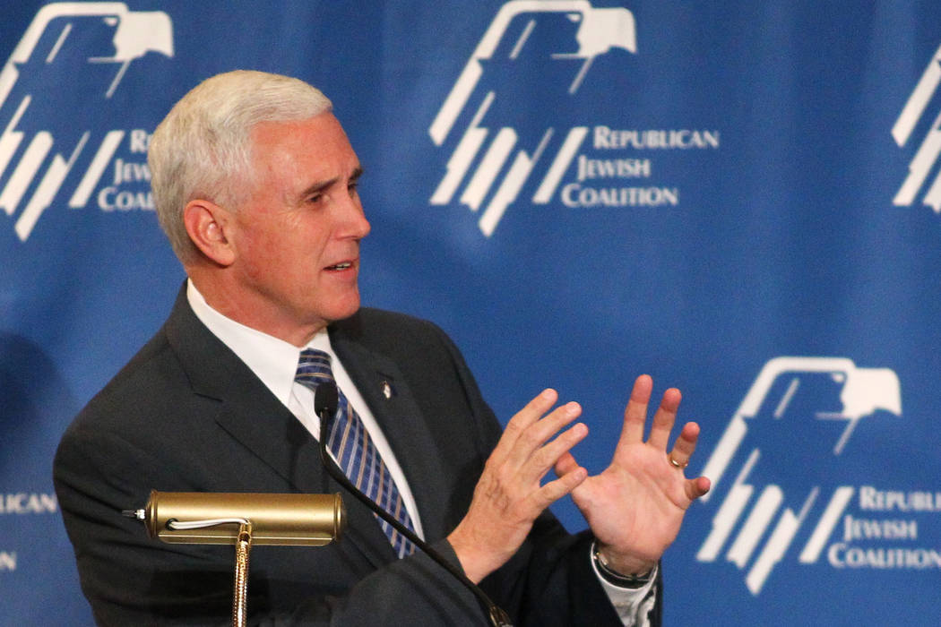 Mike Pence at the Republican Jewish Coalition's annual conference at the Venetian casino-hotel in Las Vegas on Saturday, April 25, 2015. (Chase Stevens/Las Vegas Review-Journal)