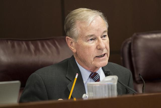Sen. David Parks, D-Las Vegas, at the Legislative Building, in Carson City. (Benjamin Hager/Las Vegas Review-Journal) @benjaminhphoto