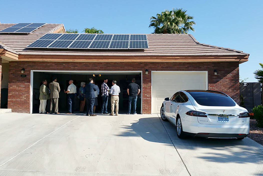 Adara Power showcase home in Las Vegas features rooftop photovoltaic solar panels that are supported by an energy storage system. Lithium-ion battery cells retain excess solar energy production wh ...