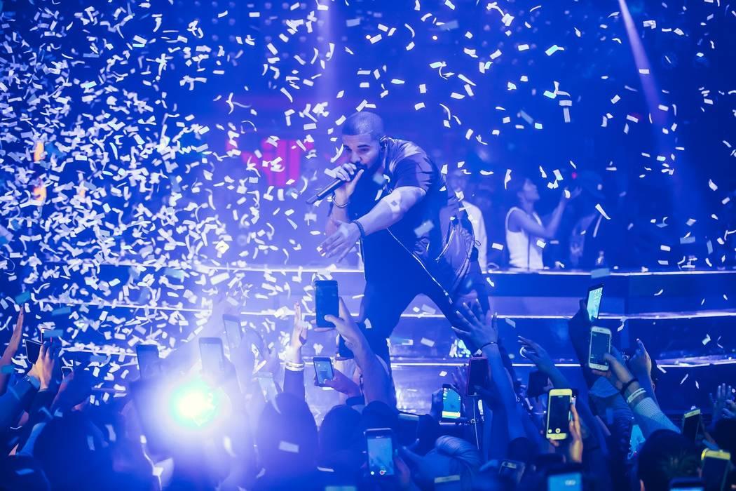Drake performs at Hakkasan at MGM Grand on Sunday, May 21, 2017, in Las Vegas. (Rukes)