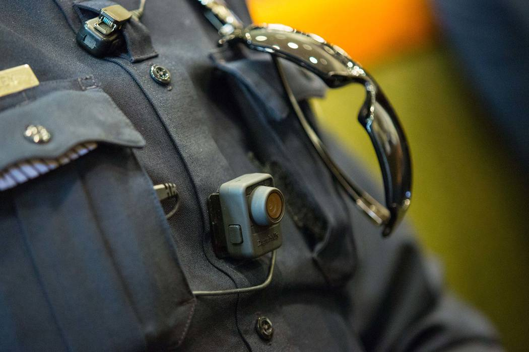 A North Las Vegas police officer wears a body camera on Friday, Dec. 19, 2014. Samantha Clemens-Kerbs/Las Vegas Review-Journal