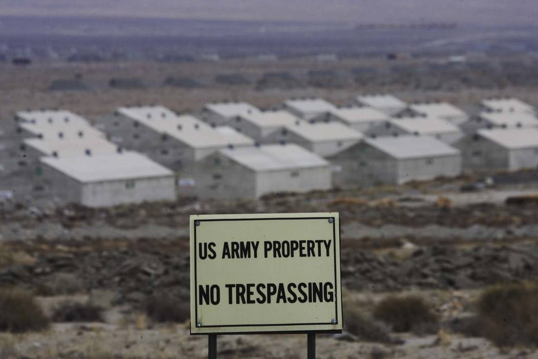 Warehouses and bunkers of the Hawthorne Army Depot cover the landscape around Hawthorne on Dec. 19, 2007. The  Army Depot covers 147,000 acres around the community. (Las Vegas Review-Journal)