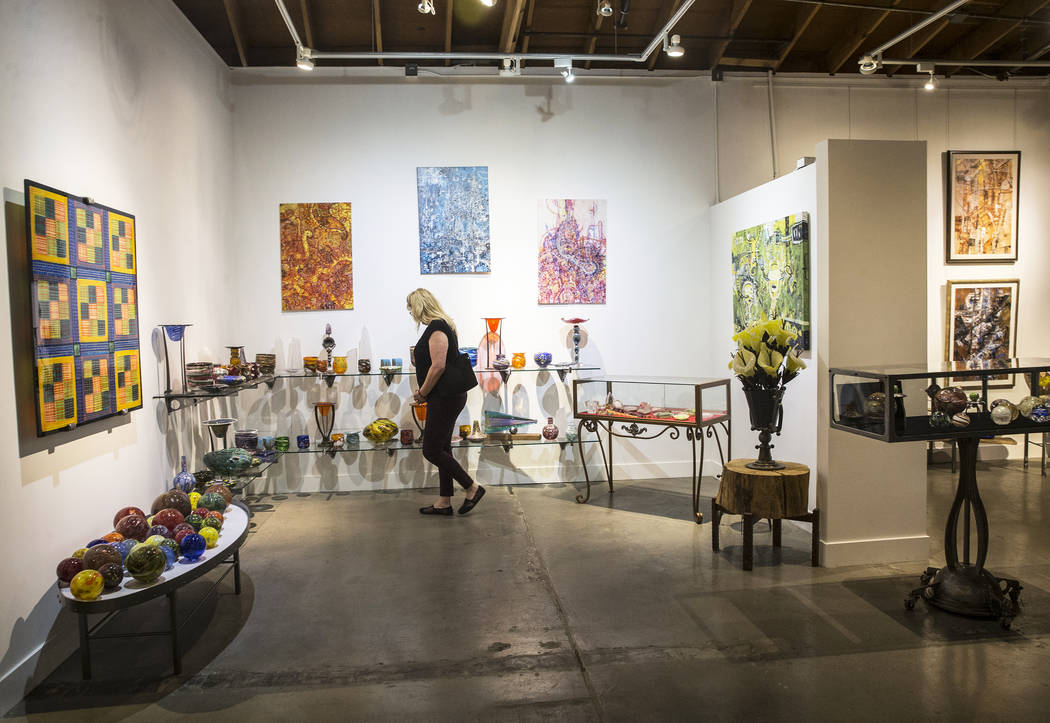 Guests tour the gallery at Domsky Glass Studio during an open house on Thursday, April 6, 2017, in Las Vegas. Benjamin Hager Las Vegas Review-Journal @benjaminhphoto