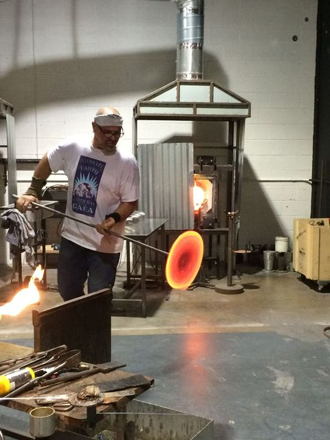 Larry Domsky of Domsky Glass will demonstrate the process of transforming molten glass into art during a three-night open house Thursday through Saturday. (Domsky Glass)