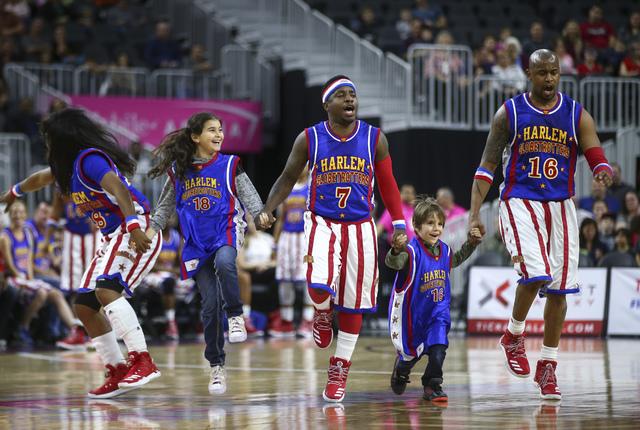Members of the Harlem Globetrotters perform at T-Mobile Arena in Las Vegas on Thursday, Feb. 9, 2017. (Chase Stevens/Las Vegas Review-Journal) @csstevensphoto
