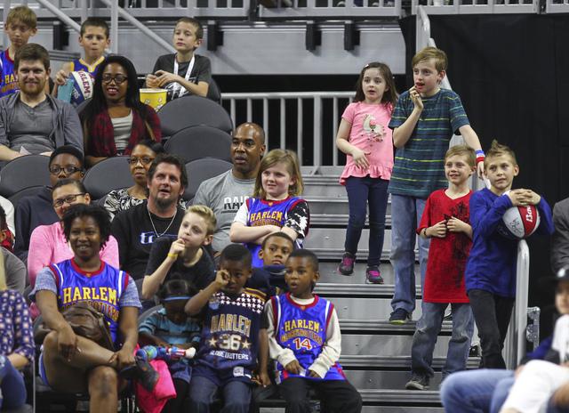 Attendees watch as the Harlem Globetrotters perform at T-Mobile Arena in Las Vegas on Thursday, Feb. 9, 2017. (Chase Stevens/Las Vegas Review-Journal) @csstevensphoto