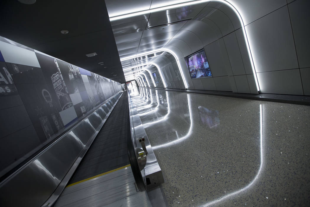 The recently completed 995-foot-long corridor linking the D-Gate Concourse to the airport's U.S. Customs and Border Protection station in Terminal 3 at McCarran International Airport in Las ...