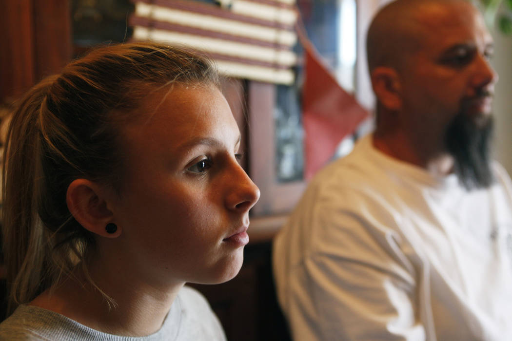 Kendra Jensen, 14, talks to the Review-Journal next to her dad Chad Jensen on Monday May 1, 2017, at their home in Henderson. Rachel Aston Las Vegas Review-Journal @rookie__rae