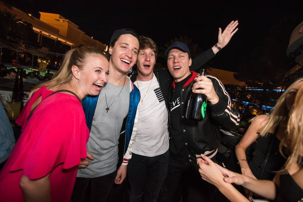 Kygo, second from left, and Tiesto, right, with fans at XS at Encore on Friday, May 19, 2017, in Las Vegas. (Wynn Nightlife)