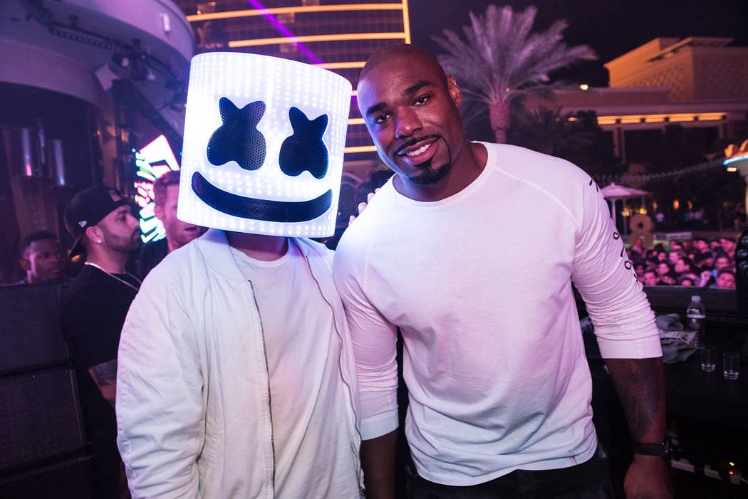 DJ Marshmello and Tyrone Smith of The Dallas Cowboys at XS at Encore on Friday, May 19, 2017, in Las Vegas. (Wynn Nightlife)