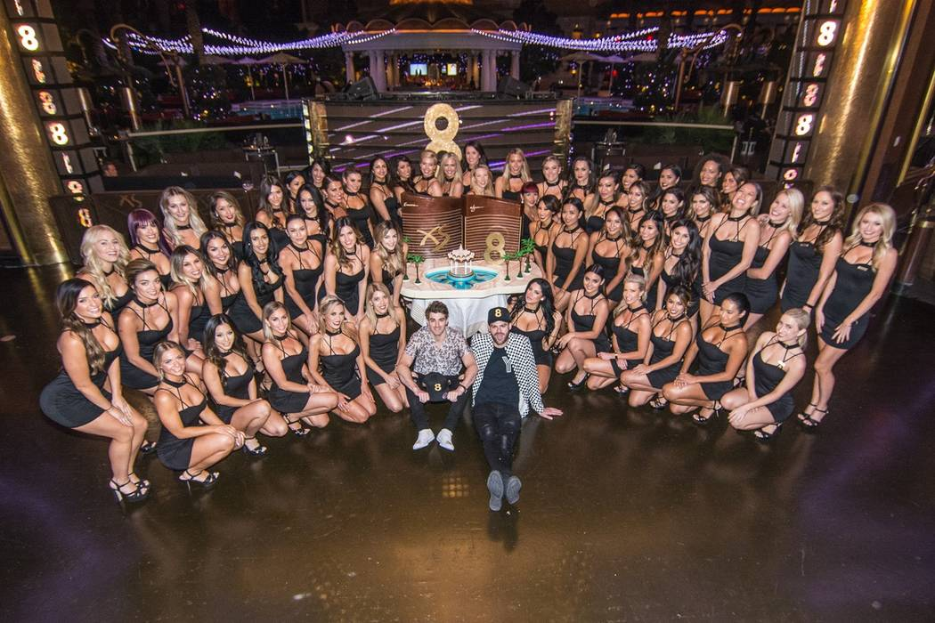 The Chainsmokers and Wynn Nightlife employees at XS at Encore on Monday, May 22, 2017, in Las Vegas. (Karl Larson)