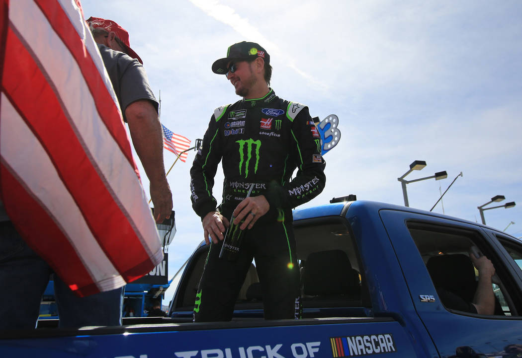 Kurt Busch rides in the back of a pickup before The Monster Energy NASCAR Cup Series Kobalt 400 at Las Vegas Motor Speedway on Sunday, March 12, 2017. (Brett Le Blanc/Las Vegas Review-Journal)