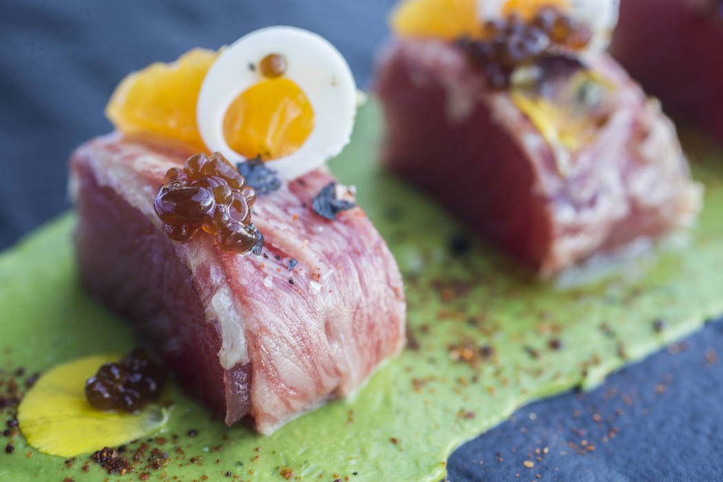 Japanese wagyu wrapped in big eye tuna with pixie tangerine, avocado mousse and ponzu caviar at Americana on Saturday, May 20, 2017, in Las Vegas. Benjamin Hager Las Vegas Review-Journal @benjamin ...