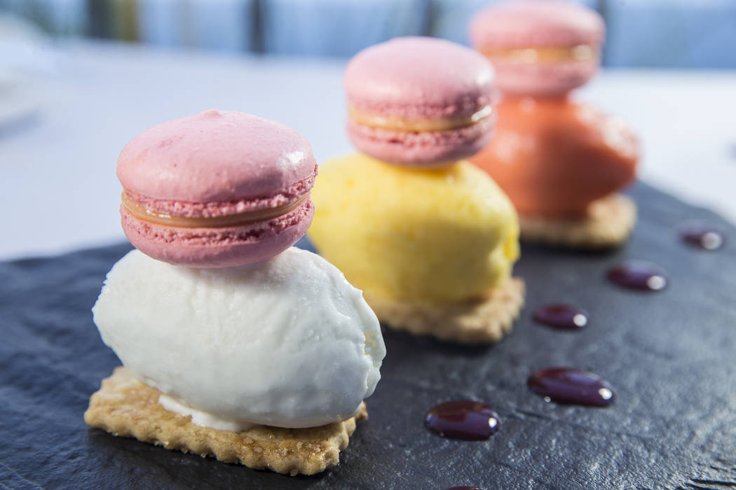 Chef's special dessert with fresh baked macaroons and sherbert at Americana on Saturday, May 20, 2017, in Las Vegas. Benjamin Hager Las Vegas Review-Journal @benjaminhphoto