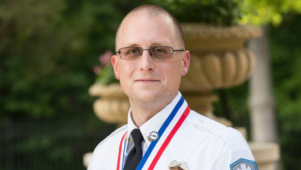 Chris Dobson was given the Stars of Life award at the American Ambulance Association's ceremony June 13 at the Omni Shoreham Hotel in Washington, D.C. Courtesy of Jennifer Lopez