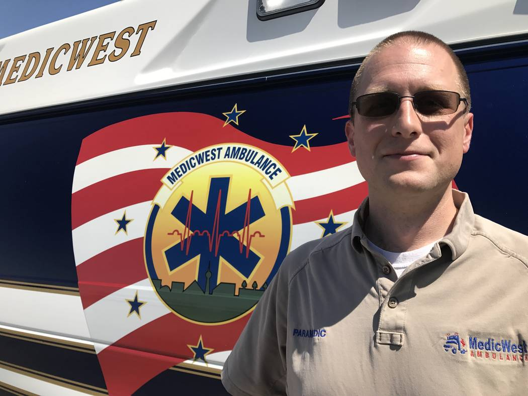 Chris Dobson at the AMR/MedicWest emergency services lifesaving skills competition May 24 at Sam Boyd Stadium,  7000 E. Russell Road. Kailyn Brown/View