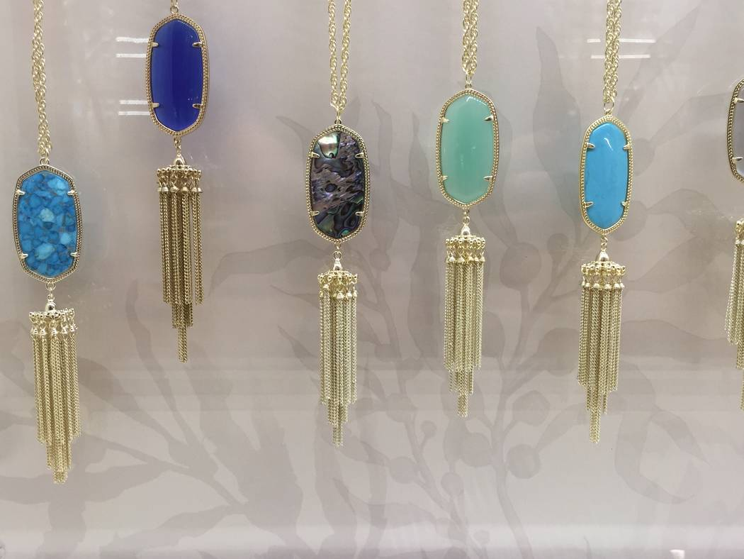 'Rayne' necklaces with tassels and various stones shown at 'Rayne' necklaces with tassels and various stones shown at the new Kendra Scott boutique at Fashion Show mall.  Image: Las Vegas Review-J ...