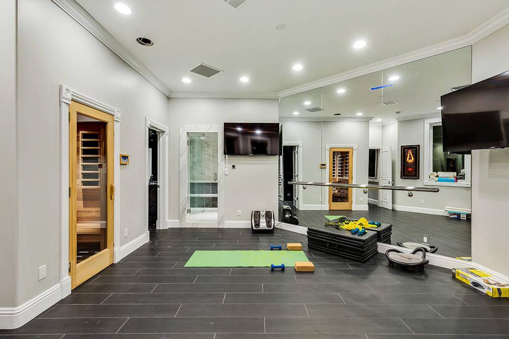 The basement features an exerc