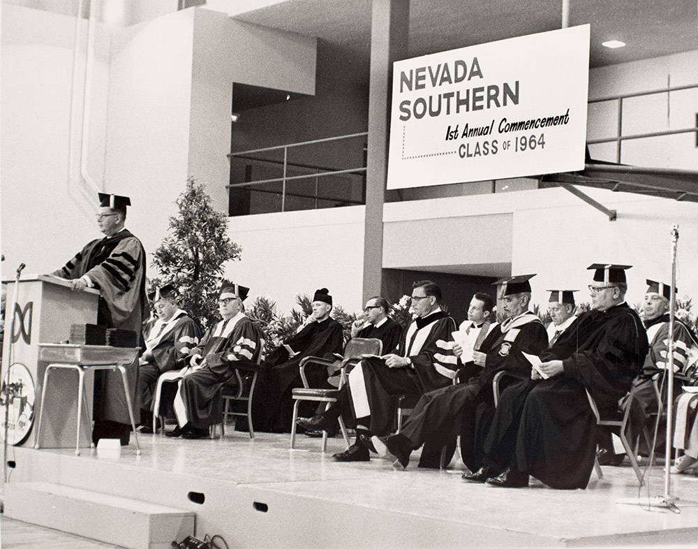 The first graduating class for UNLV — then known as Nevada Southern — had 29 students. Senior class president Jon Cobain was the first to get his degree. (UNLV Special Collections)