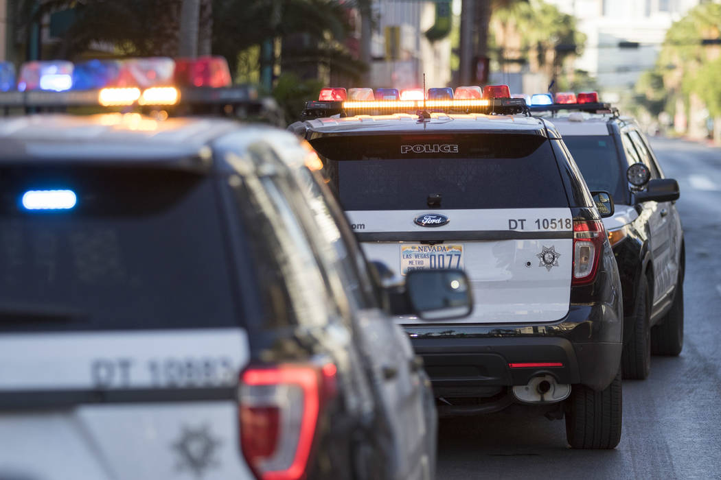 Las Vegas police investigate reports of shots fired at the Neonopolis underground parking garage at 450 Fremont St. in downtown Las Vegas on Friday, May 26, 2017.  (Richard Brian Las Vegas Review- ...