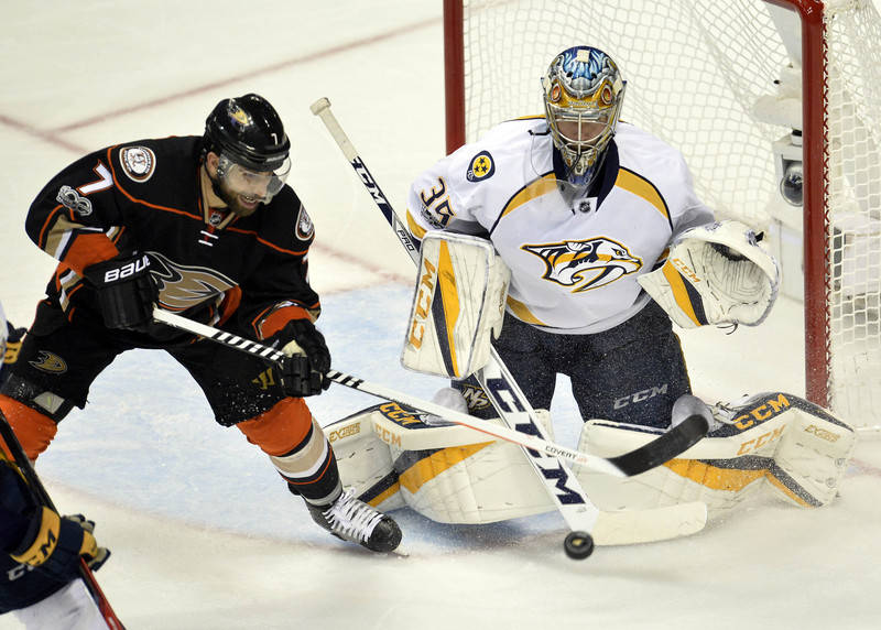 May 20, 2017; Anaheim, CA, USA; Anaheim Ducks center Andrew Cogliano (7) shoots on goal against Nashville Predators goalie Pekka Rinne (35) during the third period in game five of the Western Conf ...