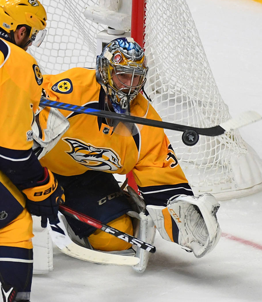 May 22, 2017; Nashville, TN, USA; Nashville Predators goalie Pekka Rinne (35) makes a save during the second period against the Anaheim Ducks in game six of the Western Conference Final of the 201 ...