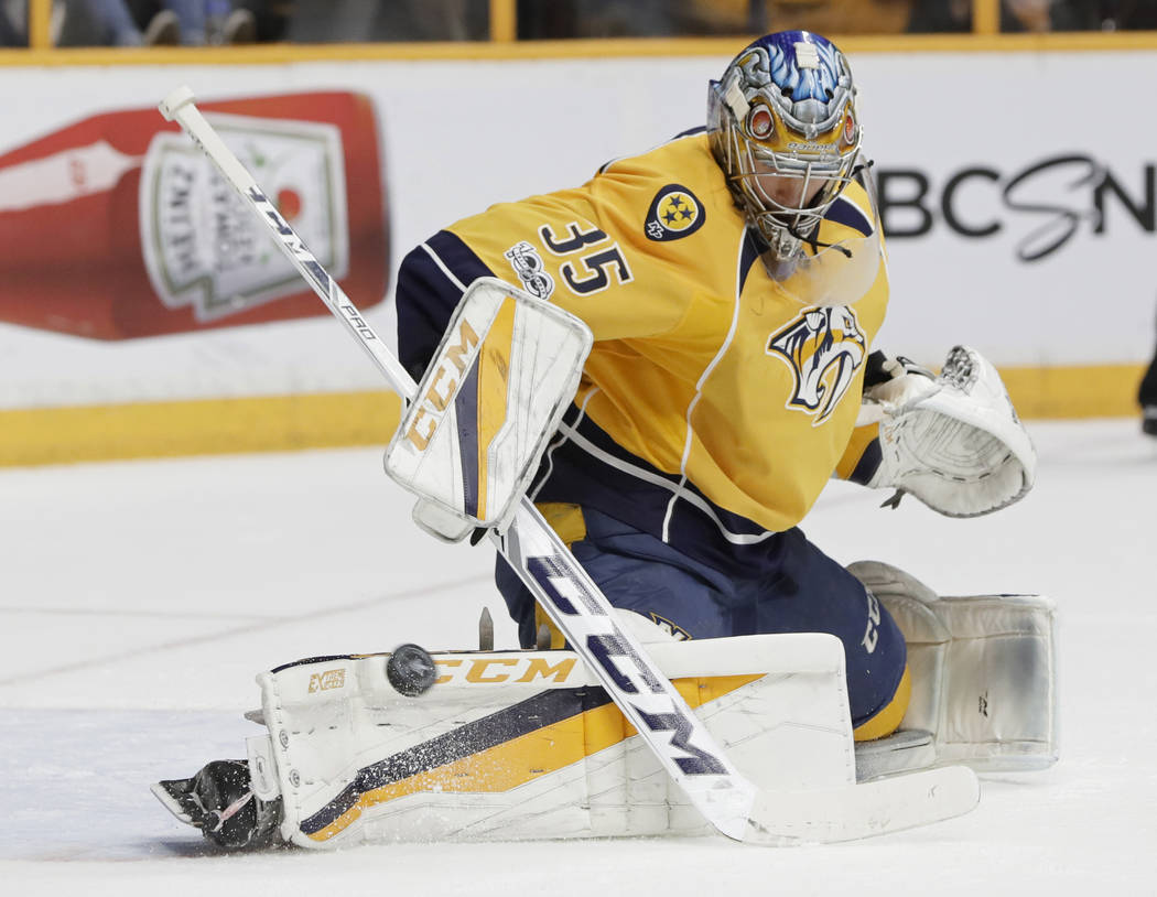 Nashville Predators goalie Pekka Rinne (35), of Finland, stops a shot against the Anaheim Ducks during the first period in Game 6 of the Western Conference final in the NHL hockey Stanley Cup play ...