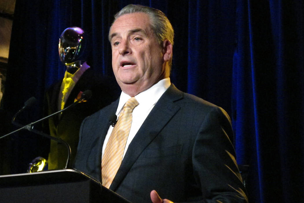 Jim Allen, CEO of Hard Rock International, speaks during a press conference in Atlantic City N.J., where the company announced plans to reopen the former Trump Taj Mahal casino with a music theme  ...