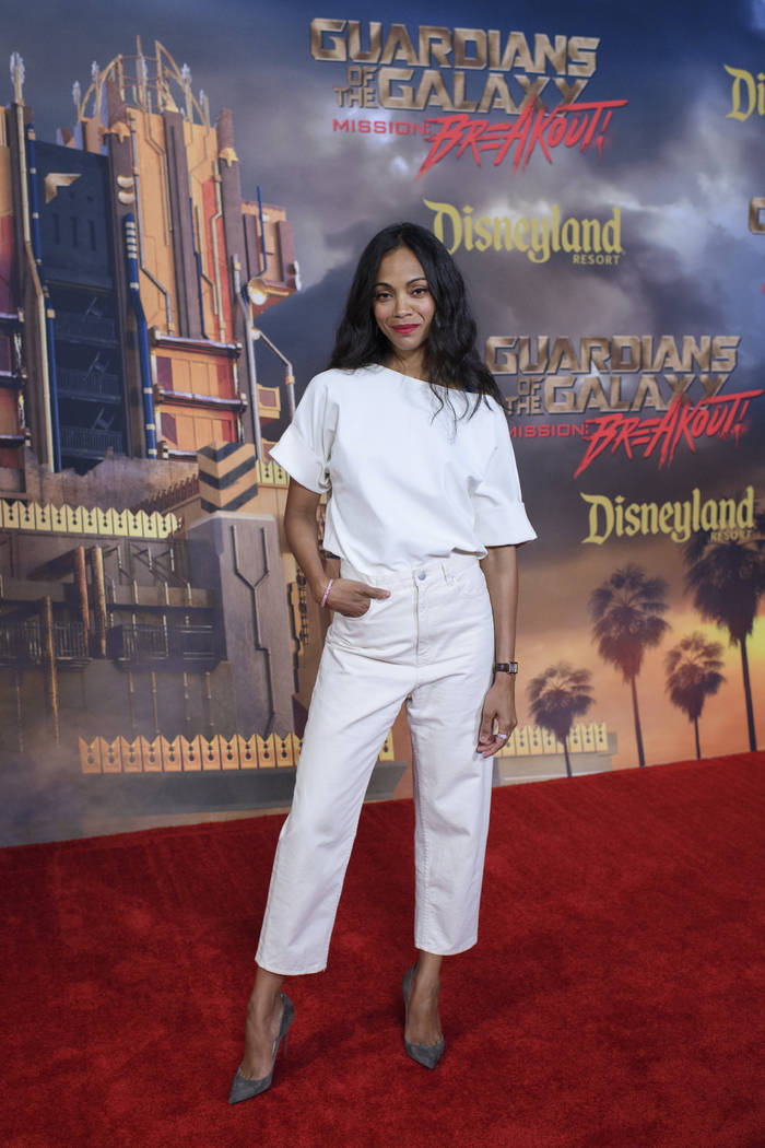 "In this May 25, 2017 photo, actress Zoe Saldana who stars in ""Guardians of the Galaxy II,"" appears at the grand opening of the new Guardians of the Galaxy–Mission: Breakou ..."