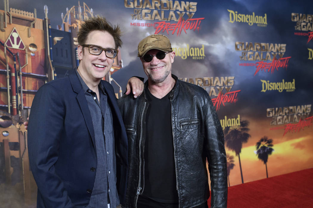 "In this May 25, 2017 photo, director James Gunn, left, and Michael Rooker, a star in the film, ""Guardians of the Galaxy II,"" appear at the grand opening of the new Guardians of t ..."