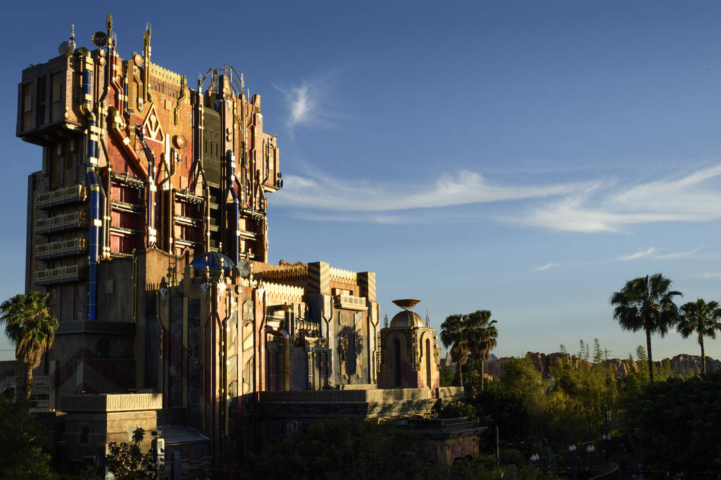 This photo provided by Disneyland Resort in Anaheim, California, shows the new Guardians of the Galaxy: Mission BREAKOUT! attraction. It's one of the biggest theme park openings this season. Rider ...