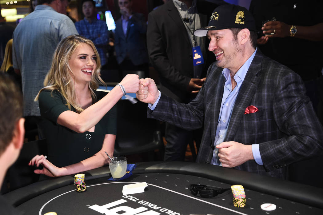 Kate Upton and Phil Hellmuth at 2017 Tiger Jam at MGM Grand in Las Vegas. (Powers Imagery)