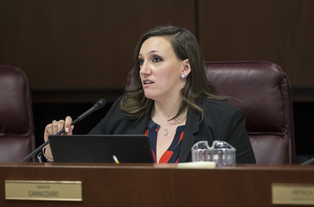 Sen. Nicole Cannizzaro, D-Las Vegas, listens to testimony during the Nevada Legislative session on Thursday, Feb. 9, 2017, in Carson City. (Benjamin Hager/Las Vegas Review-Journal) @benjaminhphoto