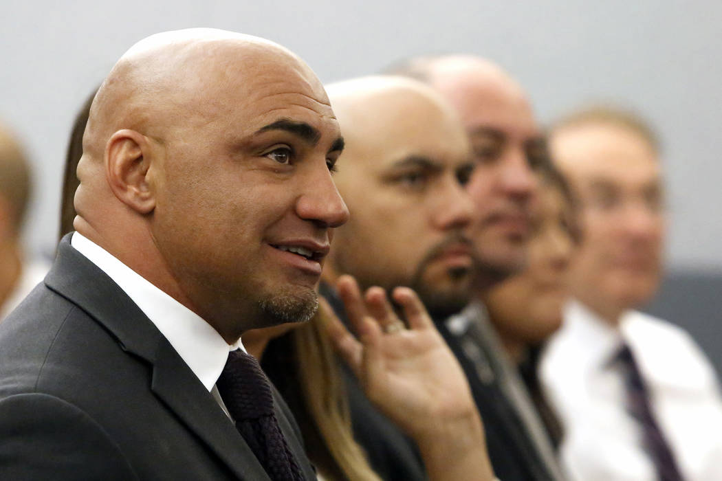 Kenny Sanchez, Bishop Gorman's head football coach charged with domestic violence against his ex-girlfriend, appears in court at the Regional Justice Center on Tuesday, May 30, 2017, in Las Vegas. ...