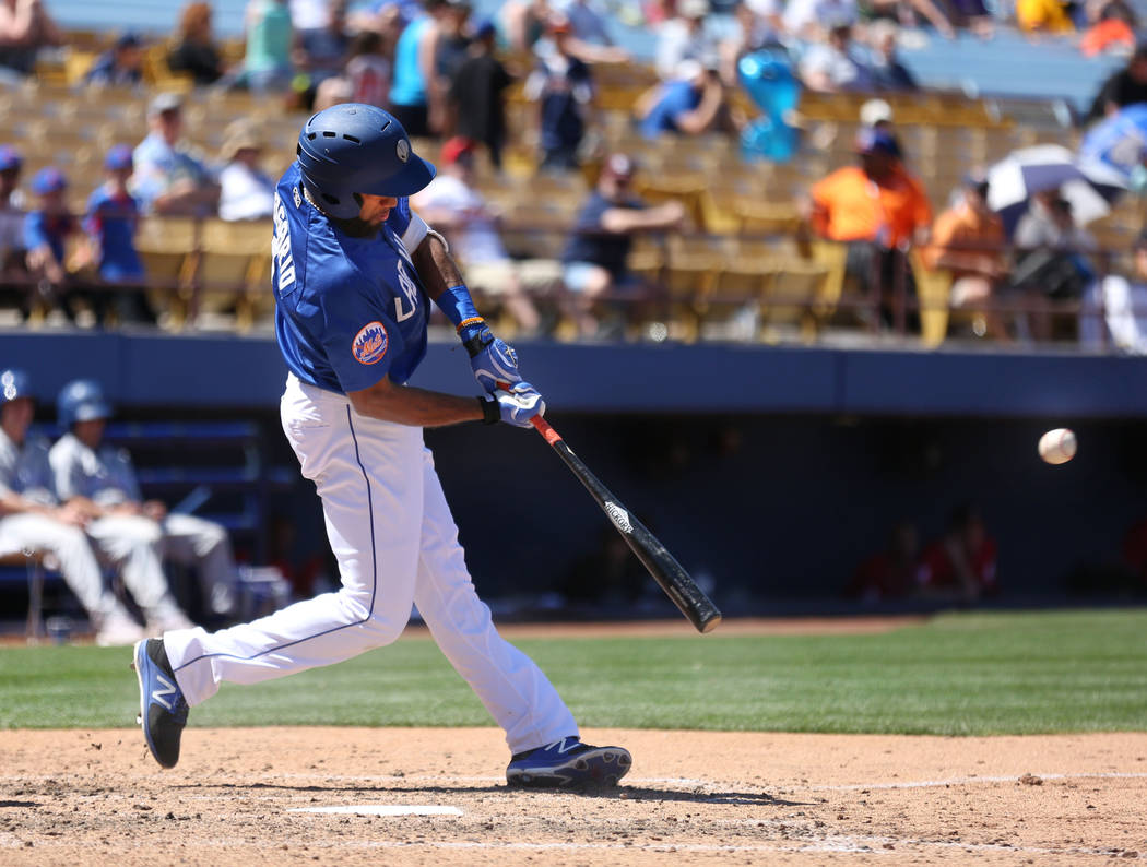 Las Vegas 51s shortstop Amed Rosario bats against Albuquerque Isotopes in the eighth inning at Cashman Field in Las Vegas, Sunday, April 30, 2017. Elizabeth Brumley Las Vegas Review-Journal @EliPa ...