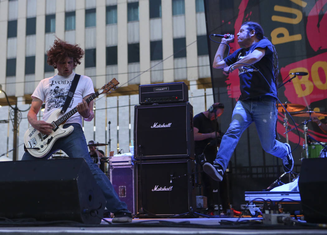 Dimitri Coats, left, and Keith Morris of OFF! perform during Punk Rock Bowling at the Downtown Las Vegas Events Center on Saturday, May 27, 2017. Chase Stevens Las Vegas Review-Journal @csstevensphoto